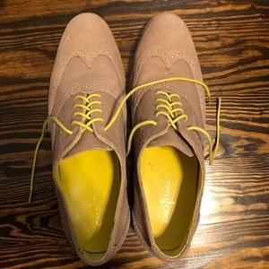 Cole Haan tan and yellow lace up oxfords